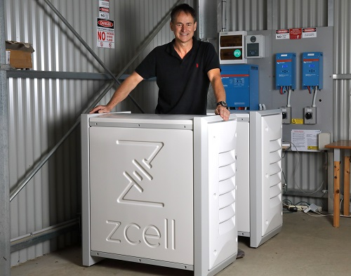 Alan Noble with his ZCell batteries at his property at Willunga, south of Adelaide